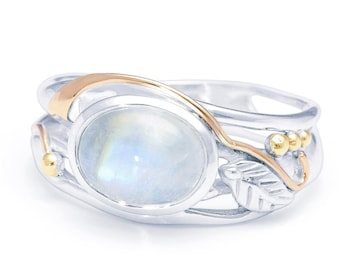 Personalized Sterling Silver Rainbow Moonstone Gemstone Leaf Ring for Women