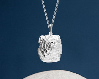 Personalised Sterling Silver Bulldog Dog Pendant Necklace