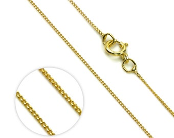 0.5mm Diamond Cut Curb Chain * 16 18 20 inches * 9ct Yellow Gold