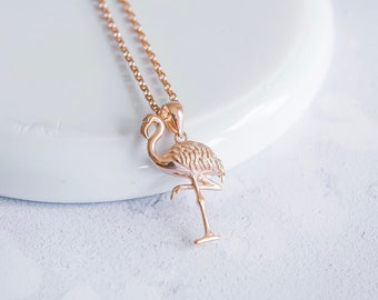 18ct Rose Gold Flamingo Necklace for Men or Women * Personalized with 40 Characters * Bird Pendant Design