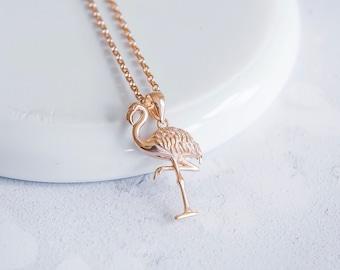 Personalized 18ct Rose Gold Flamingo Necklace for Men or Women * Bird Pendant Design