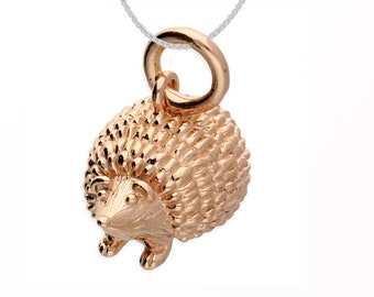 Personalized 18ct Rose Gold Dipped Hedgehog Pendant Necklace