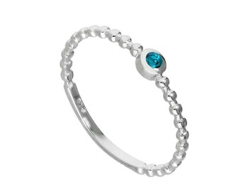 Personalized Sterling Silver and Aquamarine Cubic Zirconia Beaded Stacking Ring - March Birthstone