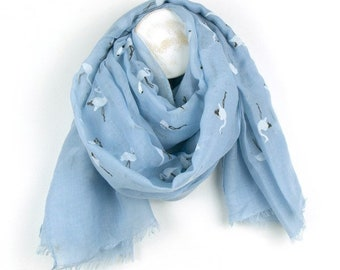 Personalised Pale Blue Scarf with White Flamingo Print - 70cm x 180cm