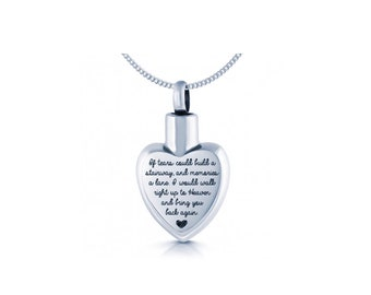 Stainless Steel Cremation Urn Necklace for Women * Personalized with 40 Engraved Characters * Small Keepsake Memorial Vial for Ashes *