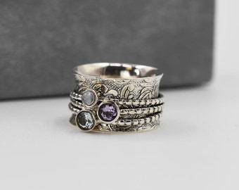 Meditation Ring * Sterling Silver * Anxiety Spinner* Spinning Worry Jewelry * Boho Spin Ring * Custom Prayer Ring * Calming Motion *