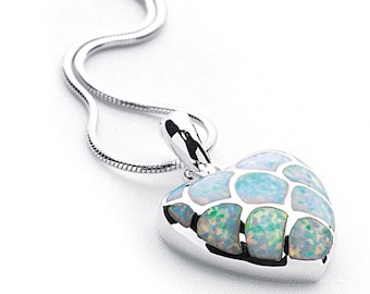 Sterling Silver and White Opal Necklace for Women * Personalized with 40 Characters * Love Heart Pendant Jewelry Design