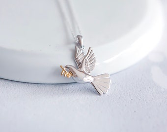 Sterling Silver and 18ct Gold Dove Necklace for Women or Girls * Bird of Peace Animal Pendant Design