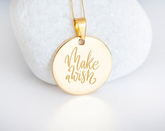 Personalised 9ct Yellow Gold Coin Disc Pendant Necklace - Make a Wish
