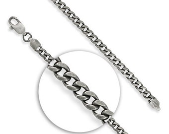 3.5mm Oxidised Curb Chain * 20 22 24 inches * Sterling Silver * Oxidised