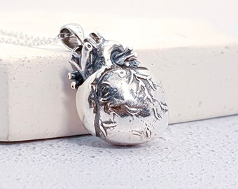 Sterling Silver Anatomical Heart Jewelry for Men or Women * Personalized With Up To 40 Characters * Memento Mori Pendant Design