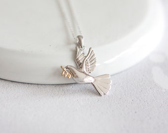 Personalised Dove Necklace * Sterling Silver * Bird Pendant * Dainty * Minimalist * Love * War and Peace * Nature * Woodland * Personalised