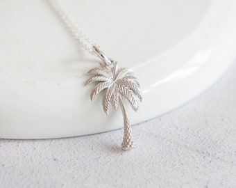 Personalised Palm Tree Necklace * Sterling Silver * Palm Tree Pendant * Palm Tree Jewelry * Botanical Gift * Desert * Summer * Flower Girl