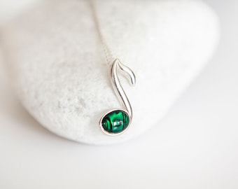 Sterling Silver Music Pendant Necklace with Green Paua Abalone Shell Gemstone