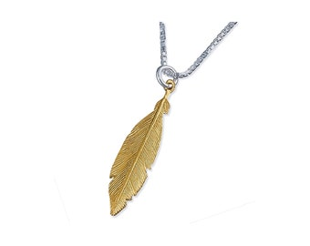 18ct Gold Long Feather Necklace for Men or Women * Personalised with 40 Characters * Large Boho Pendant Design *