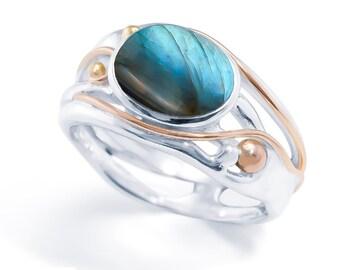 Sterling Silver Labradorite Gemstone Ring for Women