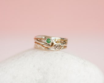 Sterling Silver Organic Emerald and Champagne Diamond Ring