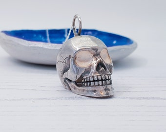 Personalized Sterling Silver Human Skull Jewelry for Men or Women * Memento Mori Pendant Design