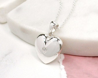 Sterling Silver Heart Locket Necklace * 2 Picture Photos * Memorial Keepsake * Mourning Charm *