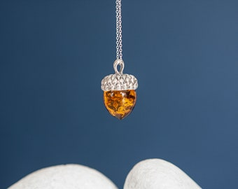 Sterling Silver Acorn Pendant Necklace with Baltic Amber