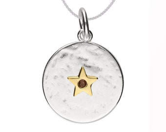 Personalized Sterling Silver and 18ct Gold Star October Birthstone Pendant Necklace with Cubic Zirconia Tourmaline Gemstone