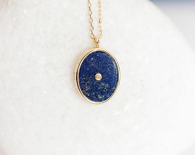 Featured listing image: Personalised Gold Lapis Lazuli Gemstone Locket Pendant Necklace