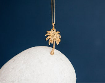 18ct Yellow Gold Dipped Palm Tree Pendant Necklace