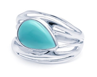 Personalized Sterling Silver American Turquoise Gemstone Ring for Women