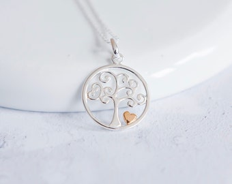 Sterling Silver and 18ct Gold Tree of Life Necklace for Women or Girls * Personalized with 40 Characters * Heart Tree Nature Pendant Design