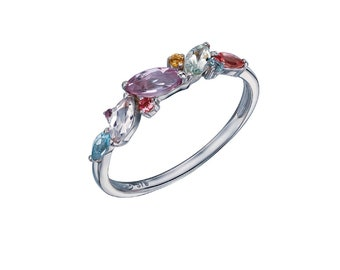 Pink Tourmaline, Blue Topaz, Citrine, Purple Amethyst, Green Amethyst, Morganite Ring * 9ct White Gold * Unique Womens Engagement Ring