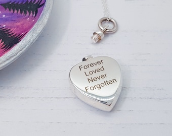 Personalized Sterling Silver Cremation Urn Necklace for Women * Small Keepsake Memorial Vial for Ashes *