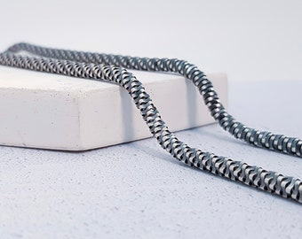 3.5mm Oxidised Fancy Chain for Men * 22 24 inches * Sterling Silver *