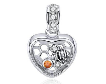 Honey Bee Charm Bead * Sterling Silver * 4.5mm Inner Diameter * Fits most European Charm Bracelets