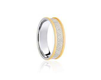 9ct Yellow and White Gold Ring for Women or Men * Celtic Gold Wedding * 5mm 6mm 7mm 8mm