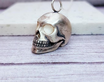 Sterling Silver Human Skull Jewelry for Men or Women * Personalized With Up To 40 Characters * Memento Mori Pendant Design