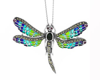 Sterling Silver Art Nouveau Dragonfly Pendant Necklace with Ruby