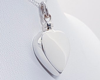 Sterling Silver Cremation Urn Necklace for Women * Personalized with 80 Engraved Characters * Small Keepsake Memorial Vial for Ashes *