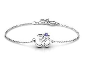 Personalised Birthstone Om Bracelet * Sterling Silver * Personalised Bangle * Best Friend Gift * Dainty * Minimalist * Anniversary