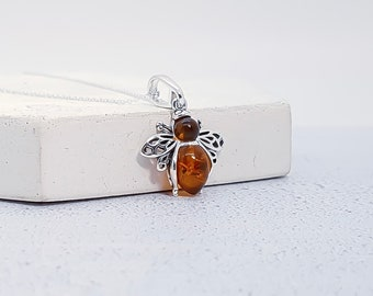 Sterling Silver and Baltic Amber Honey Bee Necklace for Men or Women * Bumble Bee Insect Pendant Design