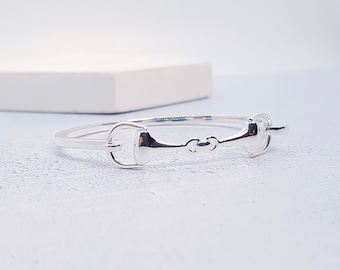 Sterling Silver Horse Bit Bracelet for Girls or Women * Snaffle Bit Equestrian Jewelry * Bangle Design