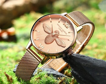 Personalised Rose Gold Bee Watch with Rose Gold Dial