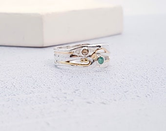 Personalized Sterling Silver Green Emerald and Champagne Diamond Ring for Women * Organic Gemstone Ring