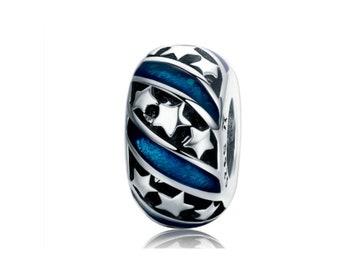 Star Charm Bead * Sterling Silver * 4.5mm Inner Diameter * Fits most European Charm Bracelets