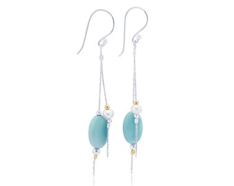 Sterling Silver White Freshwater Pearl and Chalcedony Earrings for Women * Organic Gemstone Earrings Design *