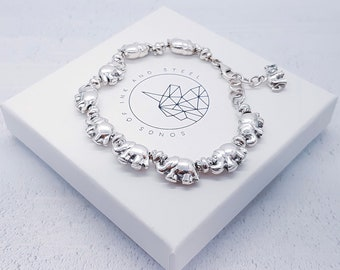 Personalized Sterling Silver Elephant Bracelet for Women * Baby Elephant Family Animal Bracelet Design