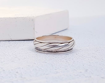 Personalized Sterling Silver Spinner Ring for Men or Women * Custom Thumb Ring * Oxidised Finish * Twisted Design*