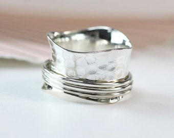 Personalized Sterling Silver Spinner Ring for Women * Wide Band * Custom Thumb Ring *