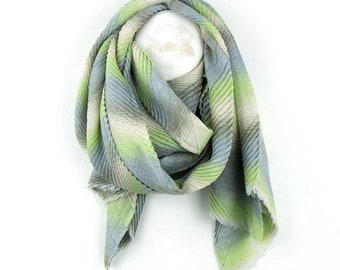 Personalised Pastel Green Pleated Scarf with Chevron Stripes - 60cm x 180cm
