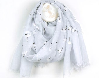 Personalised White Scarf with White Flamingo Print - 70cm x 180cm