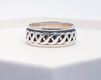 Sterling Silver Spinner Ring for Men * Personalized With Up To 10 Characters * Custom Thumb Ring * Oxidised Finish * Twisted Design *
